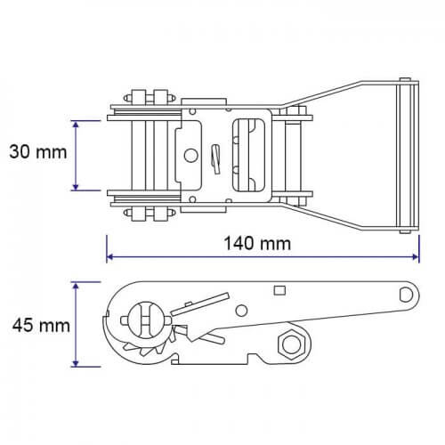 Afmetingen ratel BS 1200 kg