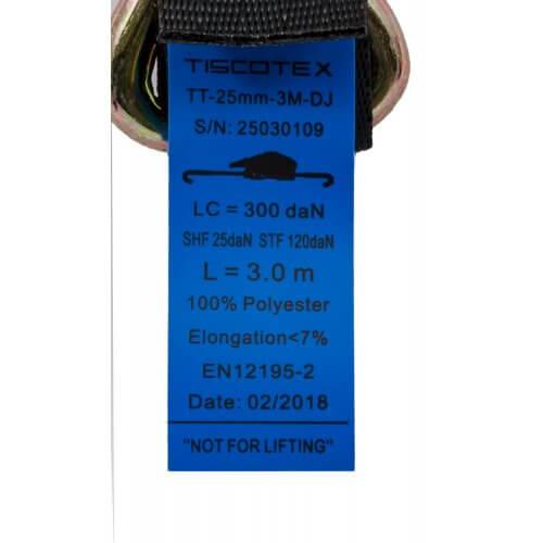 Spanband 25 mm met automatisch oprolmechanisme - spitshaken GA