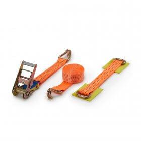 5T - 4,38m - 50mm - 3-delig - spitshaken - Autosjorband - Oranje>