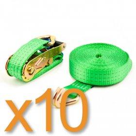 Spanband 35 mm met spitshaken - Groen - 6 m + 0.5 m - 10 stuks - PROMO>